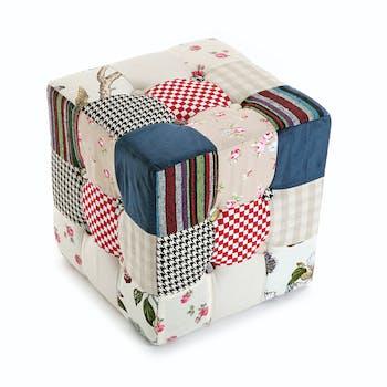 Pouf cube Romantique capitonné en tissu Patchwork coloré 35x35x35cm ASHLEY