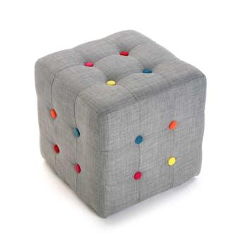 Pouf cube capitonné en tissu gris et boutons colorés 35x35x35cm COLORS