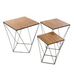 Lot de 3 tables d'appoint carrées plateau bois et pieds métal façon polygone 45x45x50cm LANDAISE