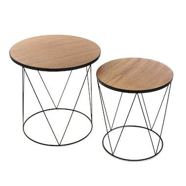 Lot de 2 tables d'appoint rondes plateau bois et pieds métal base cercle et triangles D50,5xH50cm LANDAISE