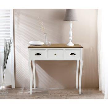 Console Romantique en bois blanc et plateau bois naturel 3 tiroirs, aux poignées mixées 90x30x81cm CALINE