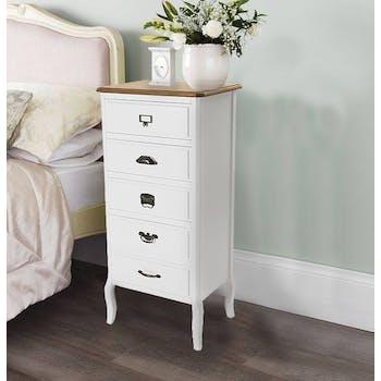 Chiffonnier Romantique en bois blanc et plateau bois naturel 5 tiroirs, aux poignées mixées 45x35x104,5cm CALINE