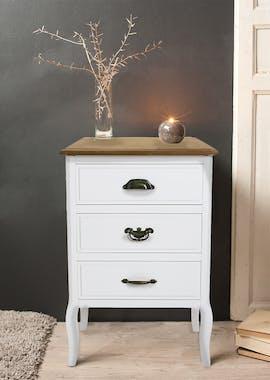 Table de Chevet Romantique 3 tiroirs en bois blanc et plateau bois naturel, aux poignées mixées, pieds galbés 48x35x69cm CALINE