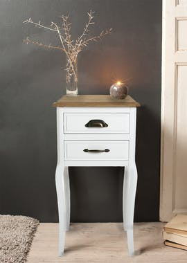 Table de Chevet Romantique 2 tiroirs en bois blanc et plateau bois naturel, aux poignées mixées, pieds galbés 37x35x69cm CALINE