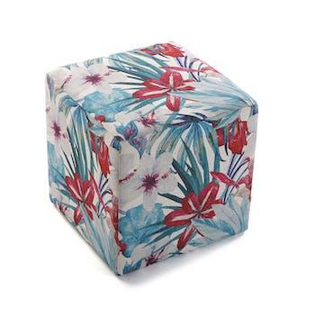 Pouf cube tropical motif feuilles et grandes fleurs rouges 35x35x35cm BORNEO