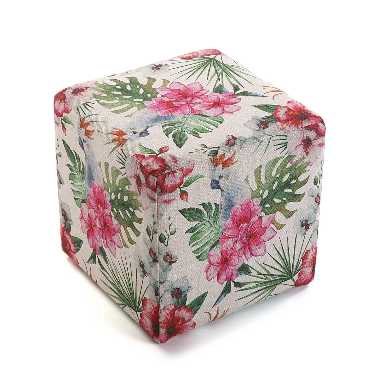 Pouf cube tropical motif perroquets, feuilles et fleurs 35x35x35cm BORNEO
