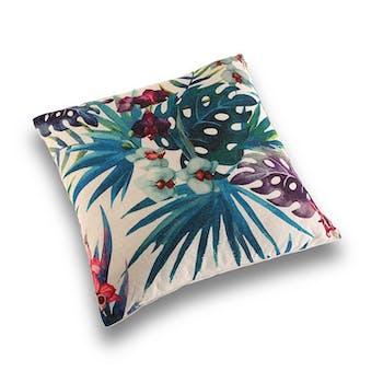 Coussin épais tropical feuilles bleu vert et fleurs 45x45cm BORNEO