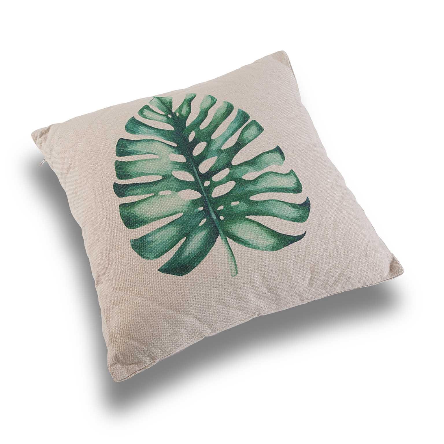 """Coussin épais """"Feuille tropicale"""" écru motif feuille de philodendron 45x45cm"""