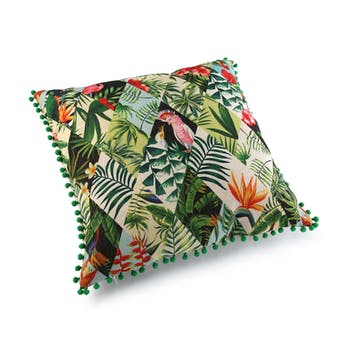Coussin épais Arlequin Feuilles et fleurs tropicales à pompons verts 45x45cm