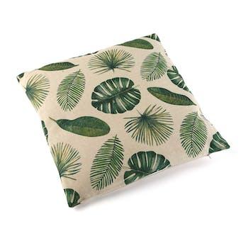 """Coussin épais """"Multiples feuilles tropicales"""" écru 45x45cm"""