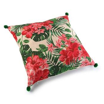 Coussin épais tropical motif feuilles et fleurs roses, pompons verts aux coins 45x45cm
