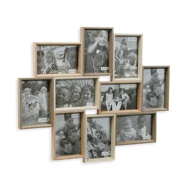 Cadre photo pêle-mêle 10 vues en dégradé de bois clairs 54xH48cm