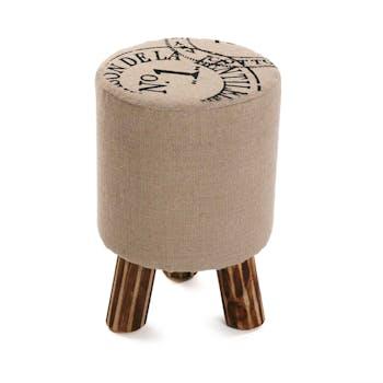 Tabouret Pouf rond vintage en tissu toile de jute imprimée et pieds bois D30x45cm