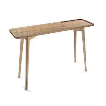 Console vintage style scandinave en bois clair évidé forme carrée 120x30xH80cm