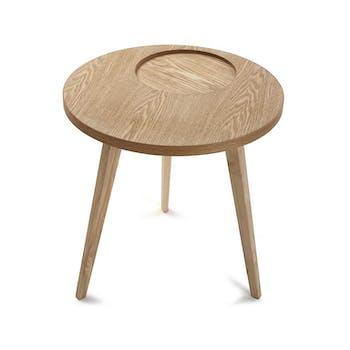 Table de chevet / Bout de canapé style scandinave en bois clair évidé forme ronde D50xH50cm