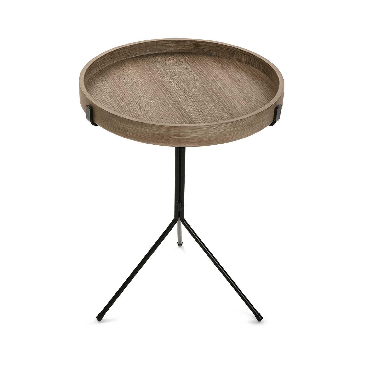 Bout de canapé / Table de chevet plateau rond en bois et pied central en métal noir D40xH50cm