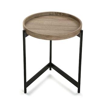 Bout de canapé / Table de chevet plateau rond en bois et trépied en métal noir D40xH50cm