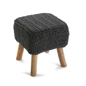 Tabouret pouf carré assise en maille tissu gris et pieds bois 35xH40cm