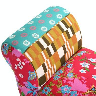 Banc / Bout de lit en tissu Patchwork et pieds bois 100x32x53cm BOHEME