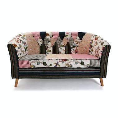 Banquette 2 places Romantique en tissu Patchwork coloré et pieds bois 138x73x84cm ASHLEY