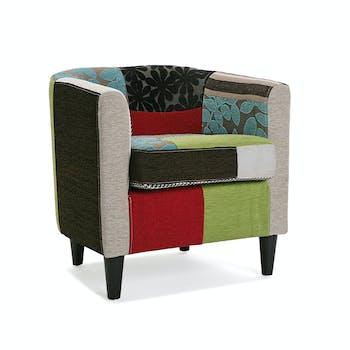Fauteuil Club en tissu Patchwork coloré et pieds bois 62x60x62cm EIDER