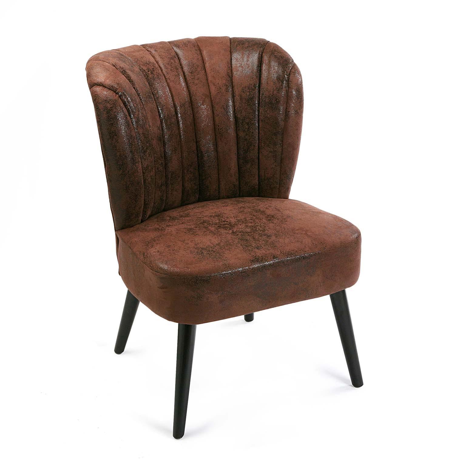 Fauteuil Cabriolet en tissu façon simili marron vieilli 60x65x84cm VANCOUVER