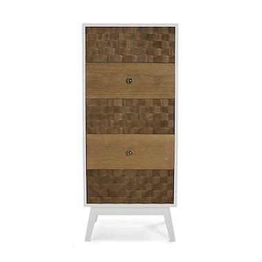 Chiffonnier 5 tiroirs en bois blanc et tiroirs motif Patchwork 47x32x108cm HOSSEGOR