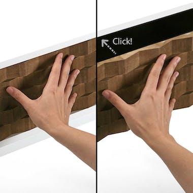 Table de Chevet / Bout de Canapé 3 tiroirs en bois blanc et tiroirs motif Patchwork 47x32x67cm HOSSEGOR