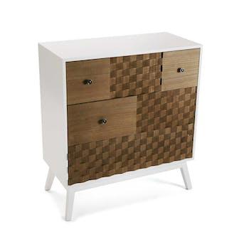 Commode 3 tiroirs en bois blanc et tiroirs motif Patchwork 80x30x90cm HOSSEGOR
