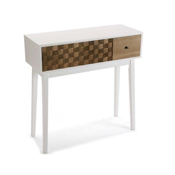Console 2 tiroirs en bois blanc et tiroir motif Patchwork 80x30x74cm HOSSEGOR