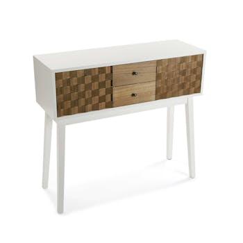 Console 3 tiroirs en bois blanc et tiroirs motif Patchwork 90x30x80cm HOSSEGOR