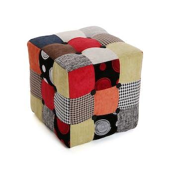 Pouf Cube Capitonné carré en tissu à motif Patchwork coloré 35x35x35cm BARCELONE