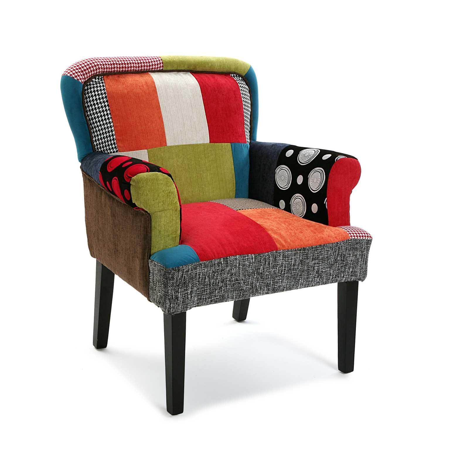 Fauteuil Club en tissu à motif Patchwork coloré 72x71x89cm BARCELONE