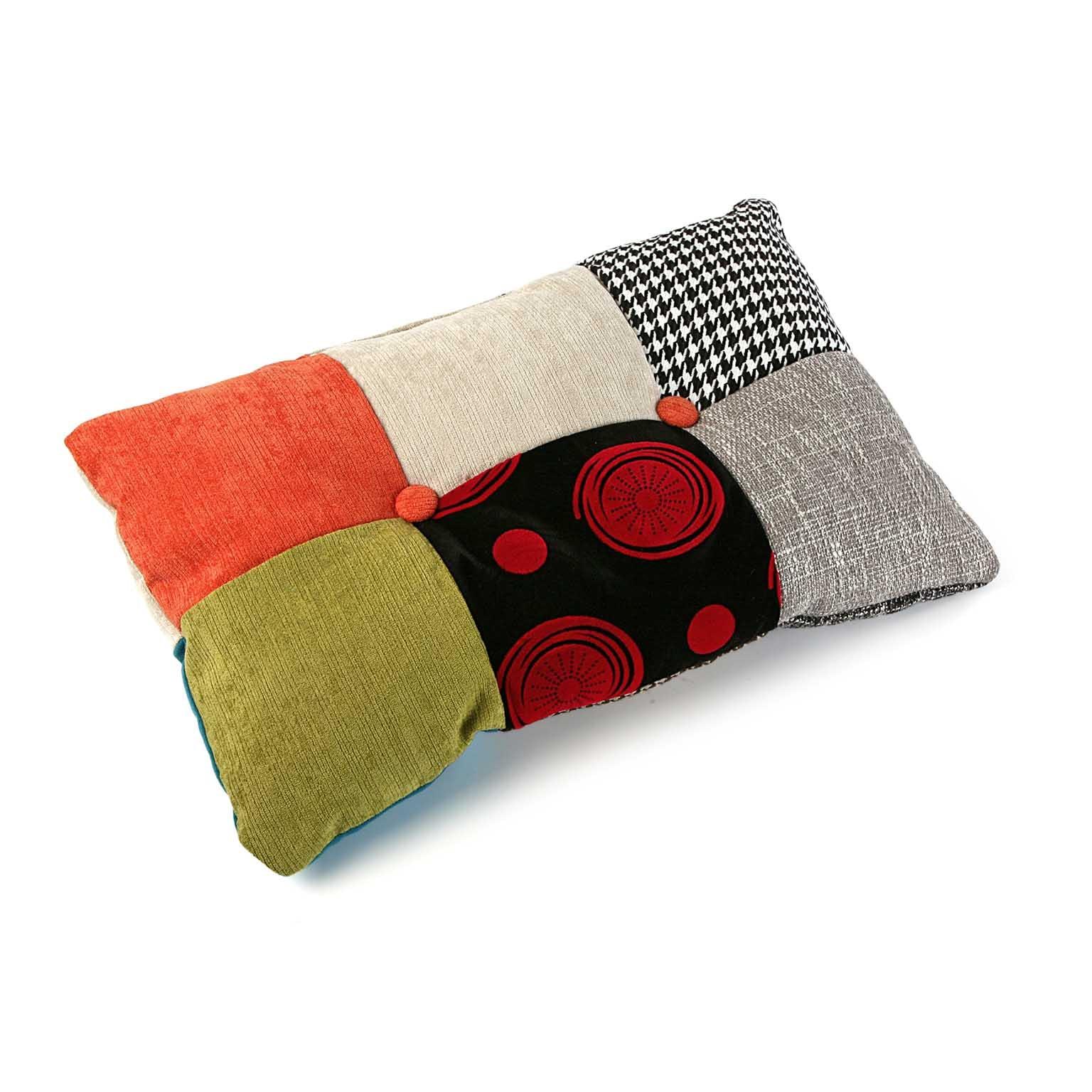 Coussin rectangle en tissu à motif Patchwork coloré 50x30x15cm BARCELONE