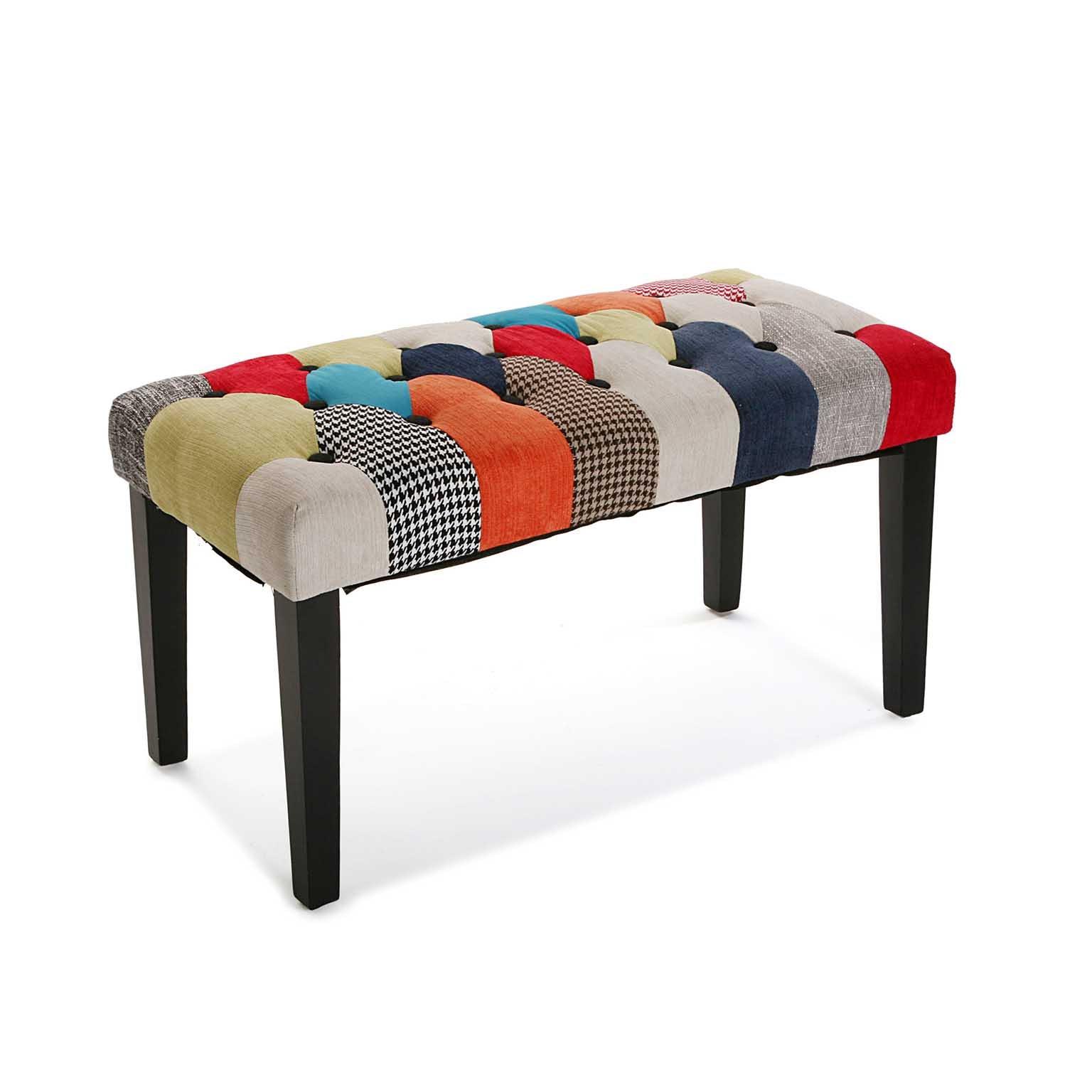 Banc / Bout de lit capitonné en tissu à motif Patchwork coloré 80x40x45cm BARCELONE