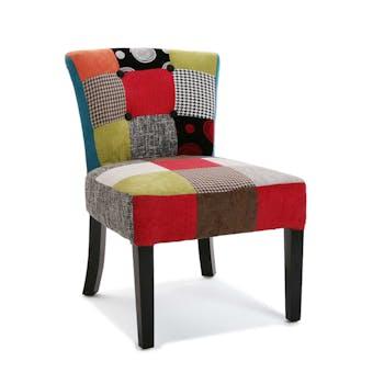 Fauteuil / Chaise en tissu à motif Patchwork coloré 50x64x73cm BARCELONE