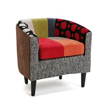 Fauteuil Cabriolet en tissu à motif Patchwork coloré 60x62x62cm BARCELONE