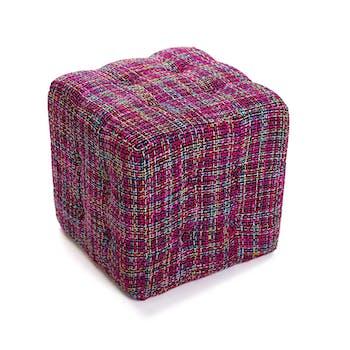 Pouf Cube Capitonné en tissu violet façon tweed 35x35x35cm PICCADILLY