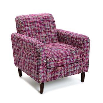 Fauteuil Club en tissu violet façon tweed 65x77x71cm PICCADILLY
