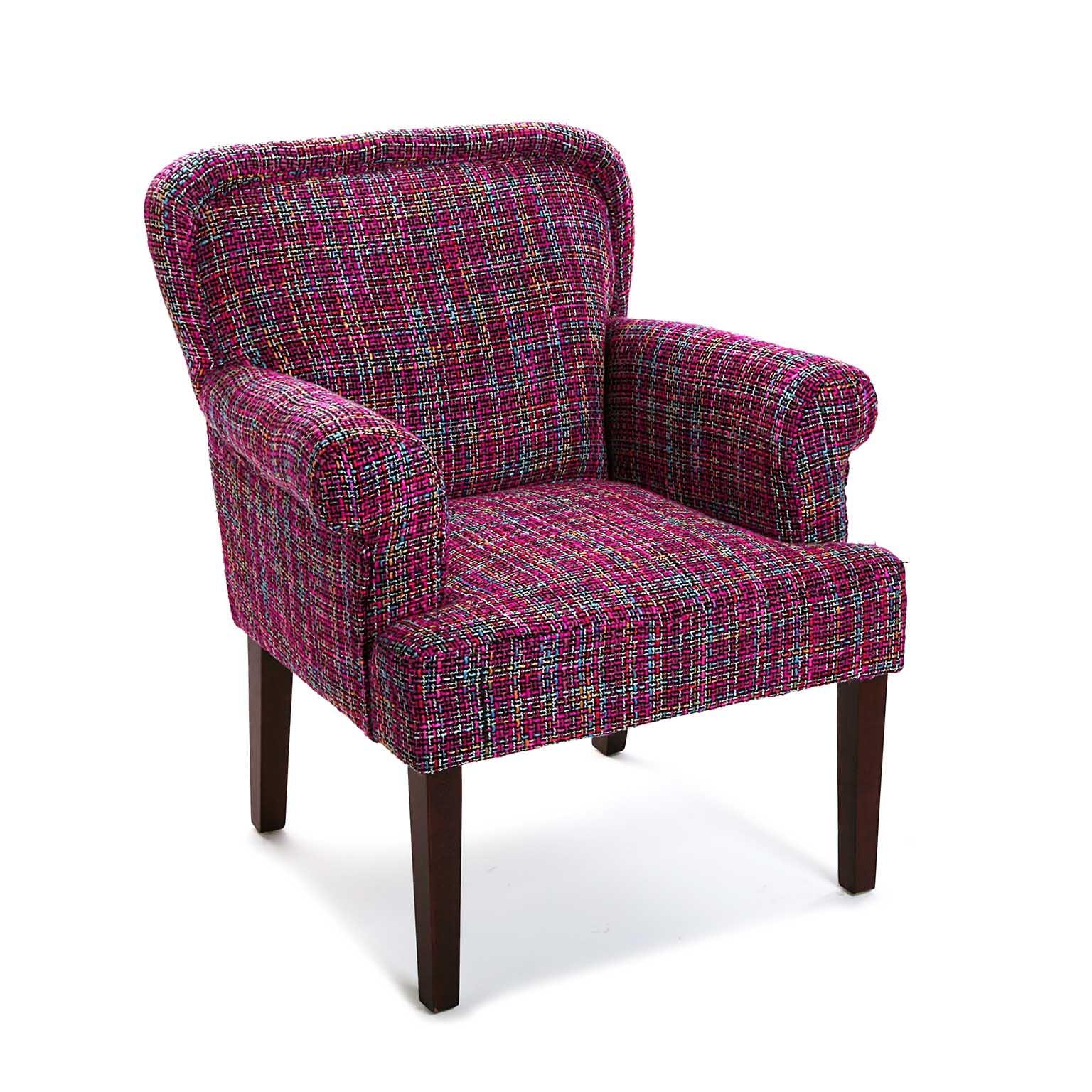 Fauteuil Club avec accoudoir en tissu violet façon tweed 72x71x89cm PICCADILLY