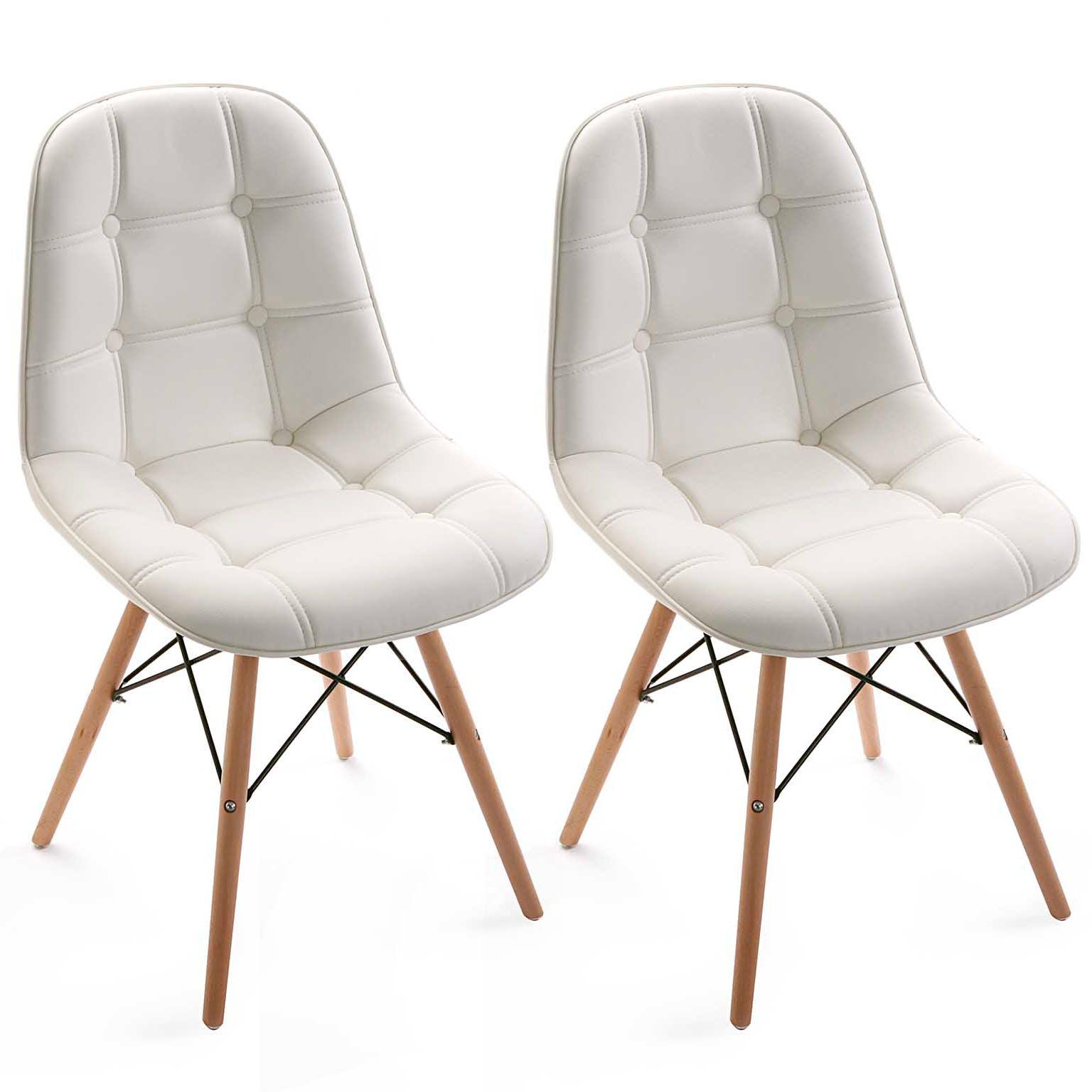 Lot de 2 Chaises Capitonnées en PU blanc et pieds bois 53x45x80cm MAYA2
