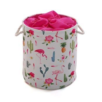 Panier à linge / Panier de Rangement en textile motif Flamant Rose à anses D35xH40cm