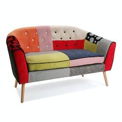 Banquette 2 places en tissu Patchwork coloré et pieds bois 138x73x84cm BARCELONE