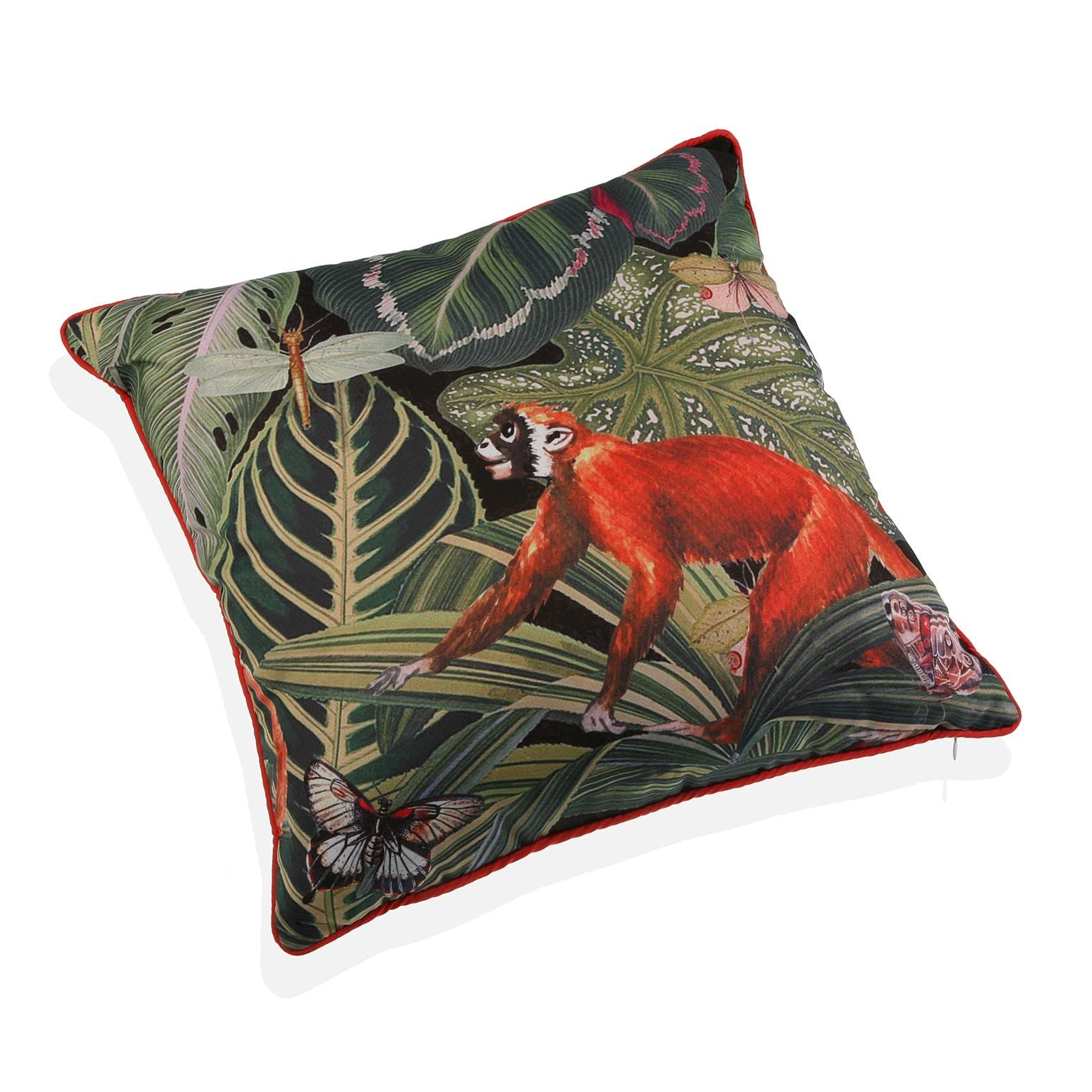 Coussin jungle papillons singe