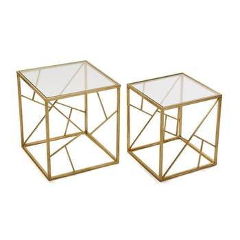 Bout de canapé graphique métal doré verre (lot de 2)