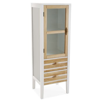 Petite vitrine blanche en bois HONFLEUR