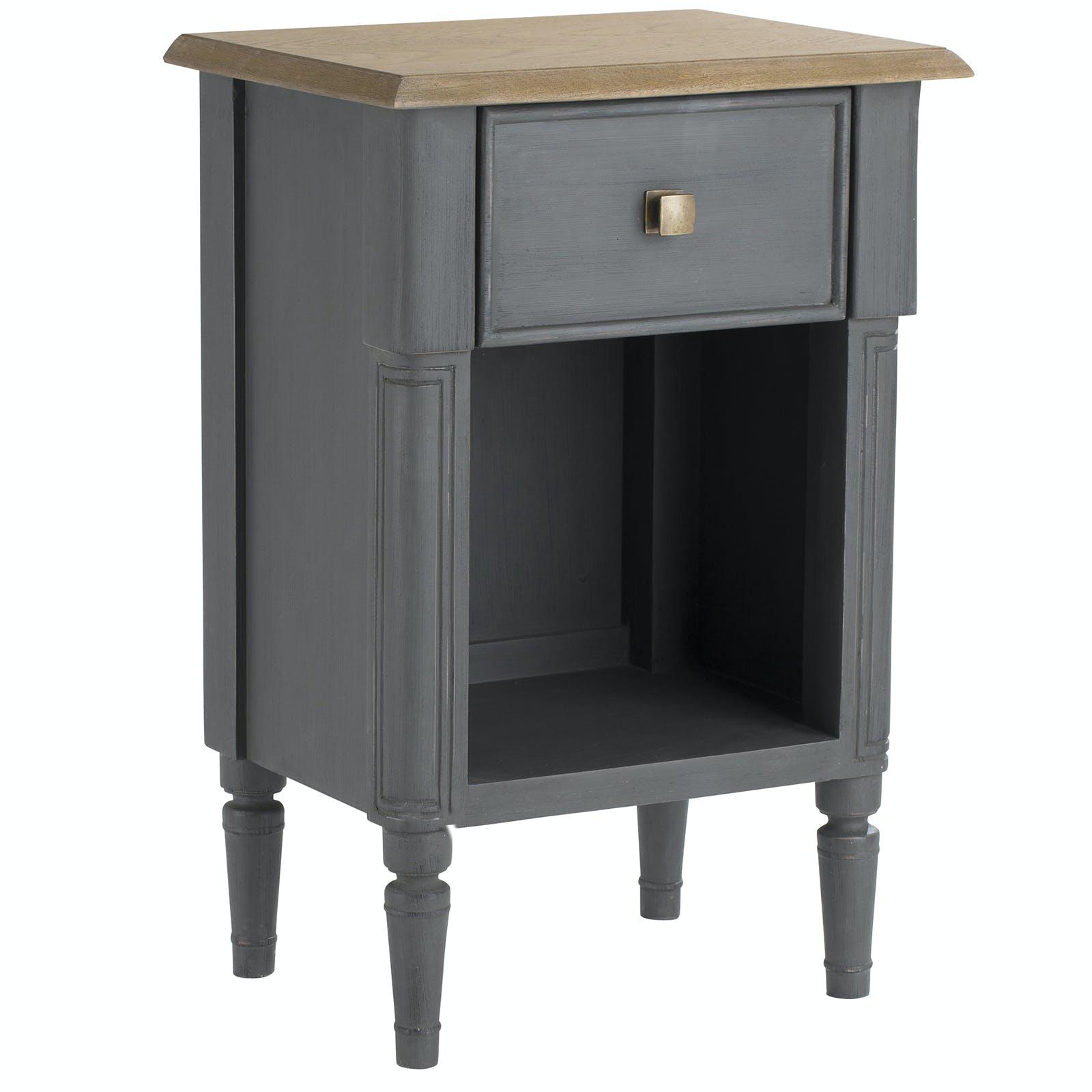 Table de chevet chêne grisé LEON 40x30cm AMADEUS