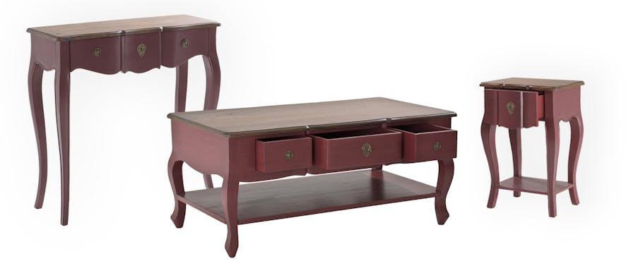 Chevet / Bout de canapé rouge baroque acajou VICTORIA 2