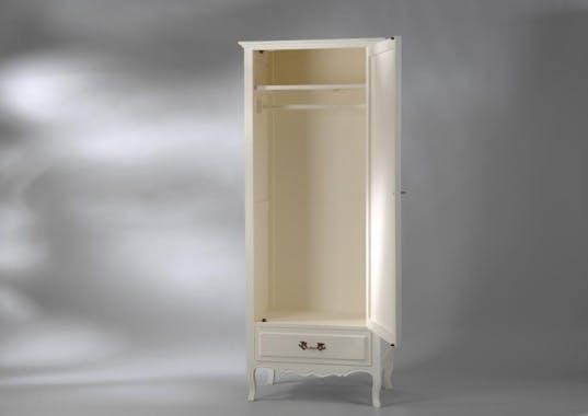 Armoire bonnetière romantique 1 porte crème antique 1 tiroir MURANO L75xP50xH185 AMADEUS