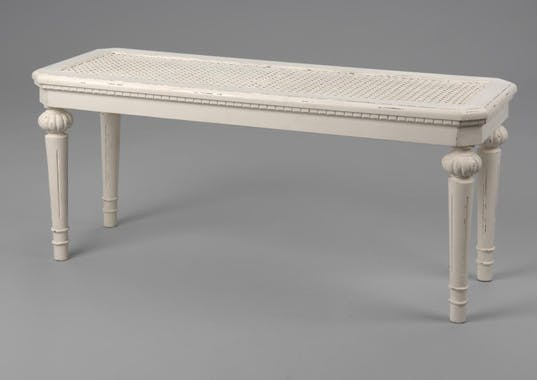 Banc de lit blanc canné classique chic en bois 100 cm Leonie L 100 x P 35 x  H 45 AMADEUS